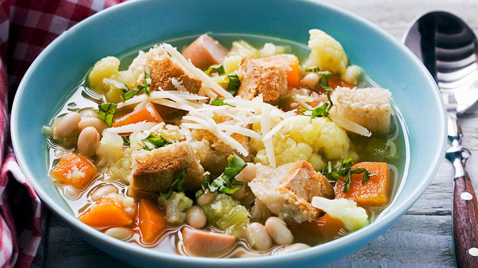 Soup Ideas - GettyImages- Bean soup croutons