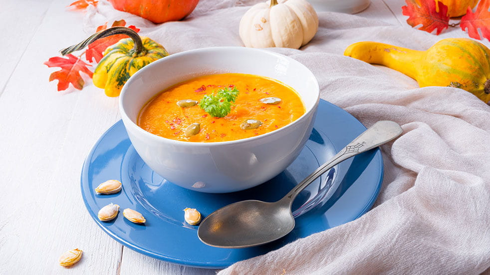 Soup Ideas - GettyImages- Roast Pumpkin and chilli soup