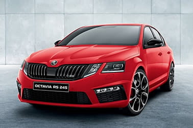 Red Skoda family car