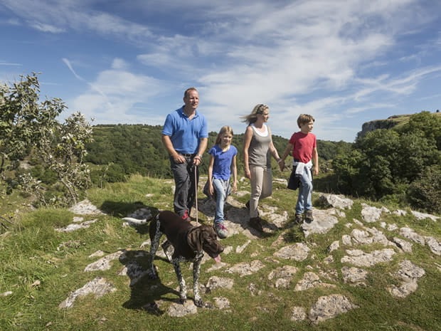 Family walking at Cheddar Gorge
