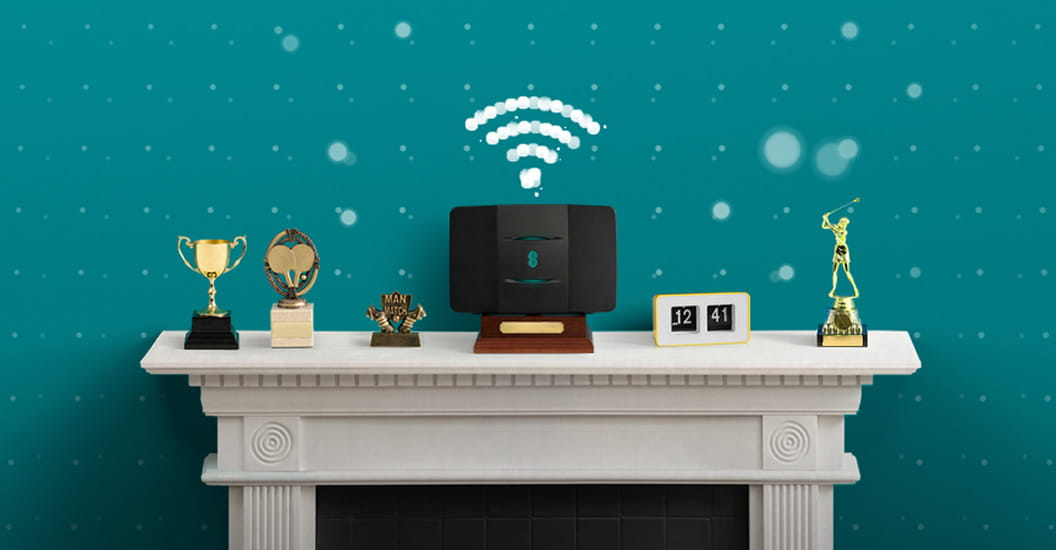 EE hub on mantlepiece