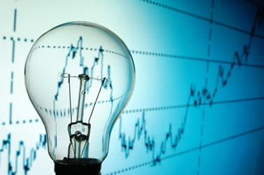 Lightbulb on a performance graph