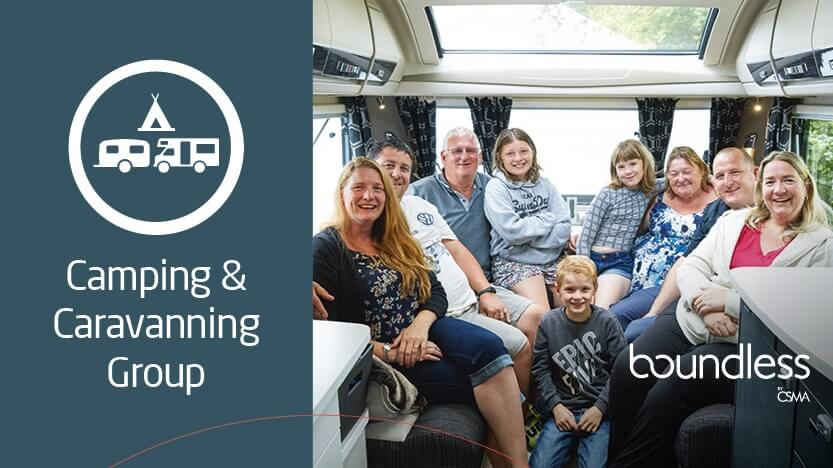 Camping and Caravanning group banner with a family in a caravan
