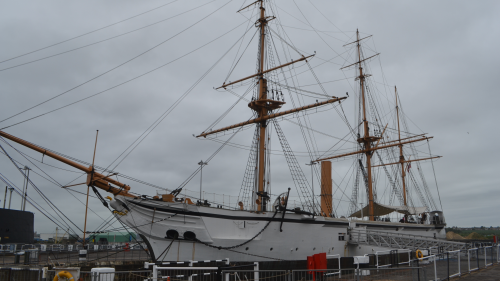 Photo of a ship at Chatham Dockyard on a grey day