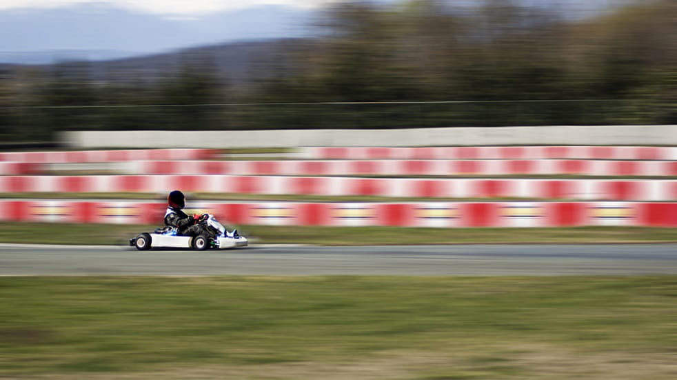 Karting on an outdoor track