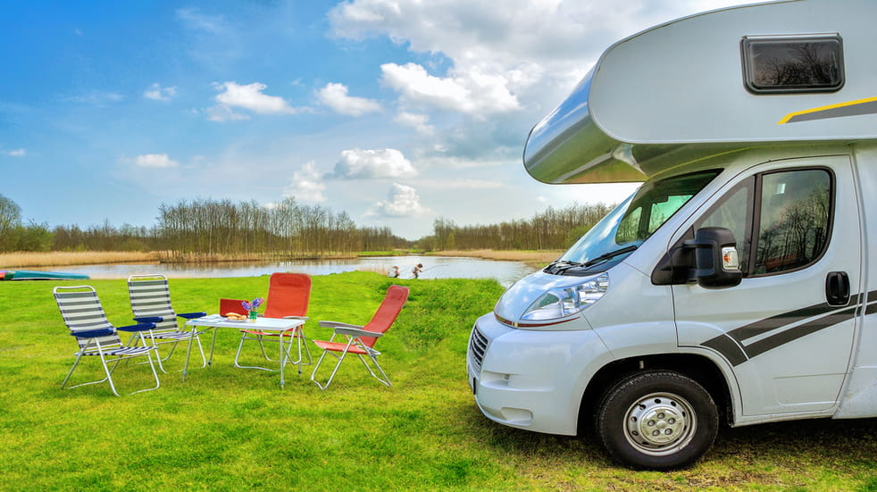 Motorhome by lake