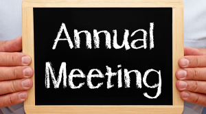 Annual meeting on black bord