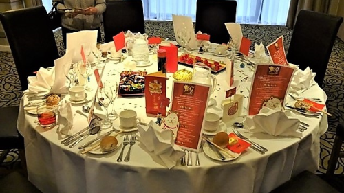 Table settings at a Kingdom of Fife group dinner