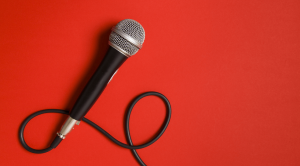 Microphone in a red background