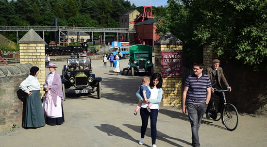 people walking outside beamish museum