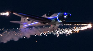 airplane with sparks
