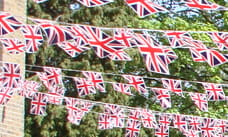 rows of bunting flags