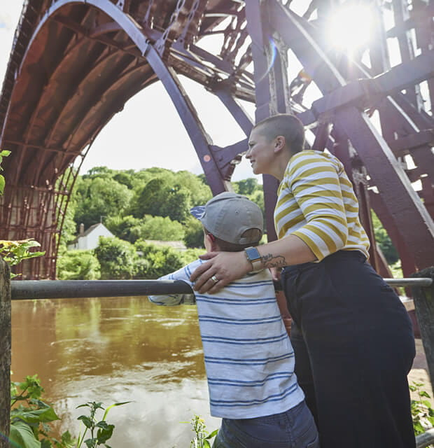 Mother and son by Ironbridge