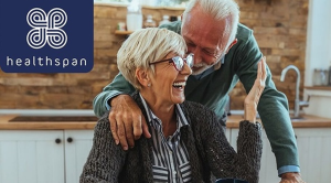 Healthspan header with an older couple laughing