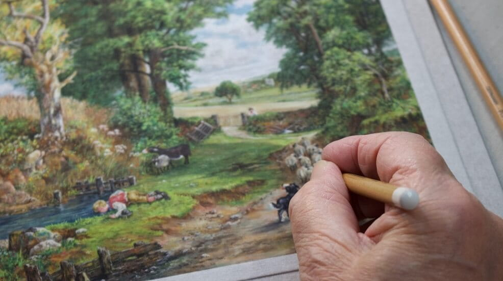 Hand painting a nature picture
