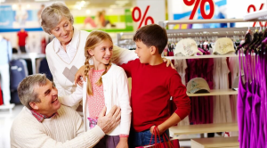 Grandparents taking their Grandchildren clothes shopping