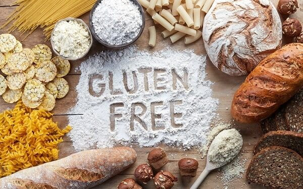 Gluten free written with baked goods around it