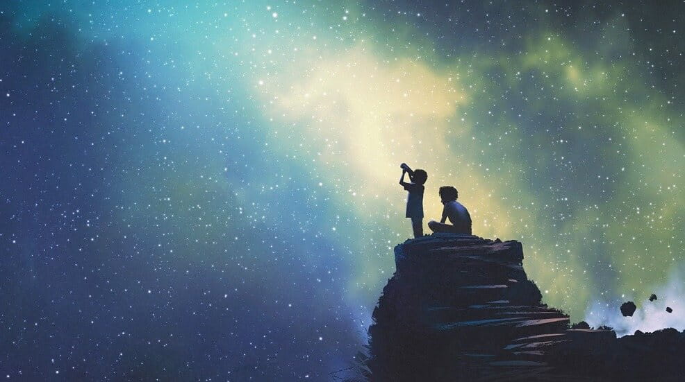 Drawing of two people stargazing on top of a mountain