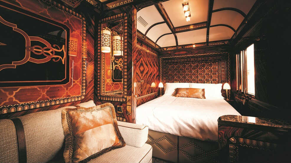 Bedroom on a Belmond train