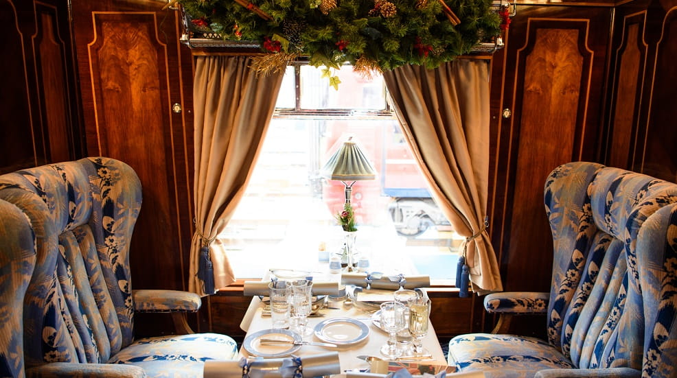 Belmond British Pullman with Christmas decorations
