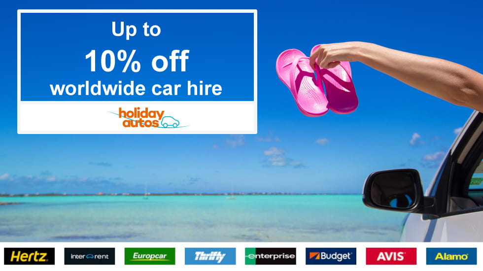 Up to 10% off worldwide car hire