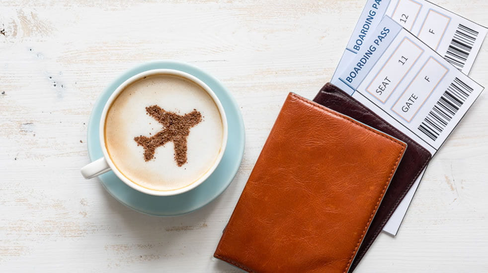 cafe, passports and flight tickets