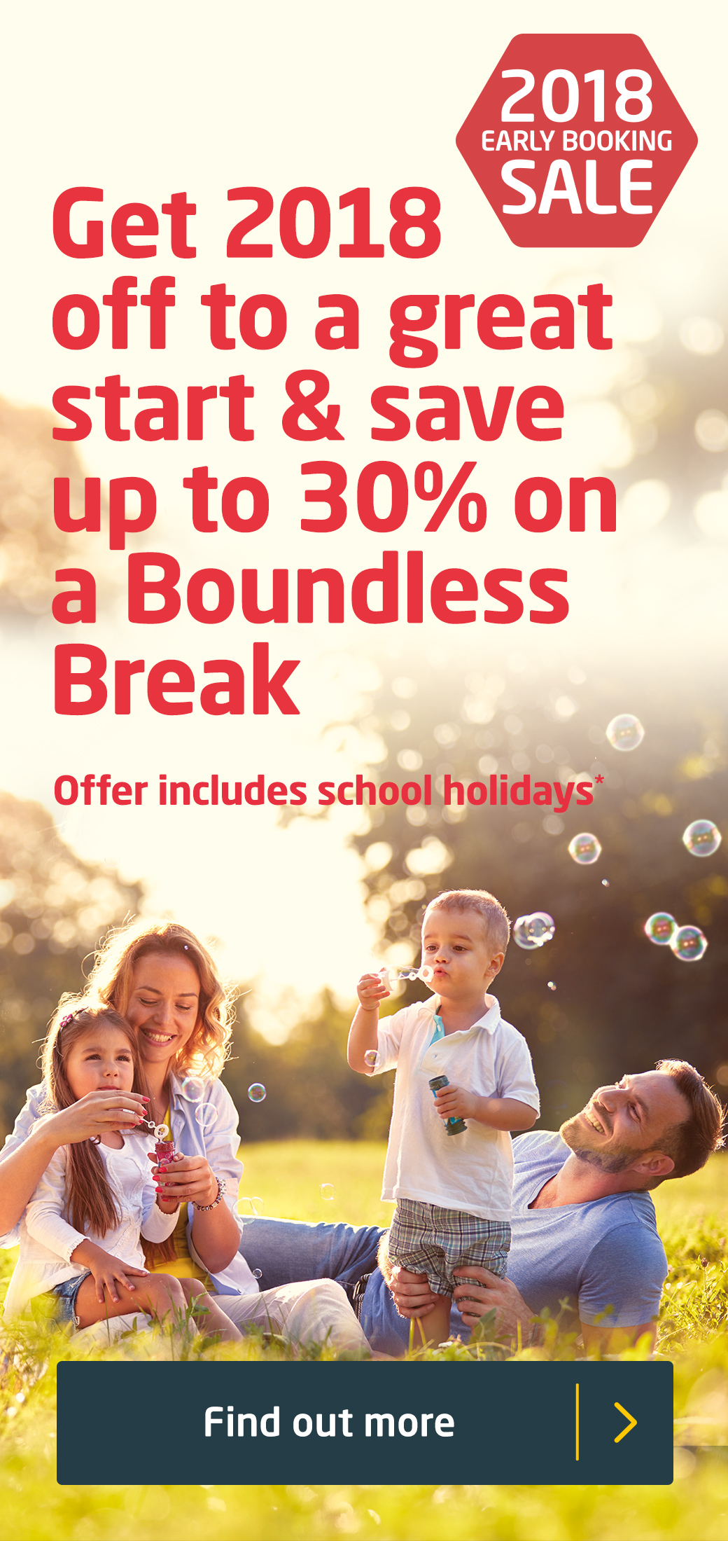 Get 2018 off to a great start & save up to 30% on a Boundless Break