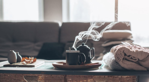 Steaming drink on a coffee table