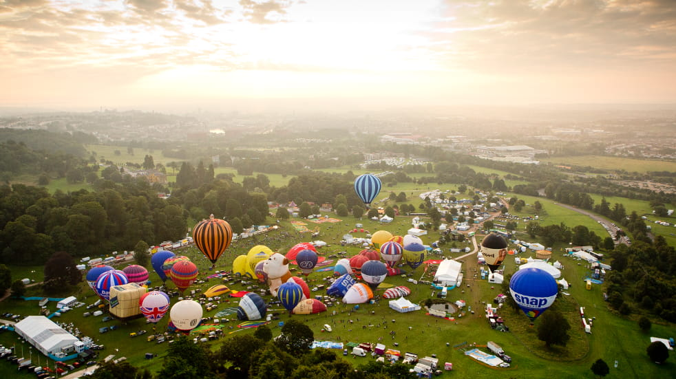 Aerial view of Bristol International Balloon Fiesta