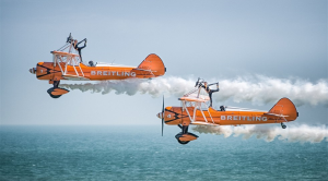 Aerobatic aerial display at Eastbourne Pier during Eastbourne Airbourne
