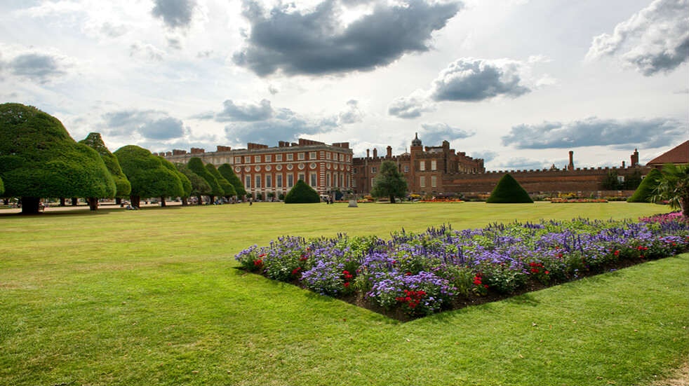 Flowers in front of Hampton Court