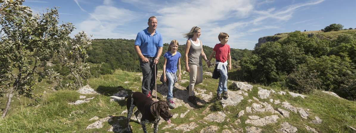 Family walking in Cheddar Gorge