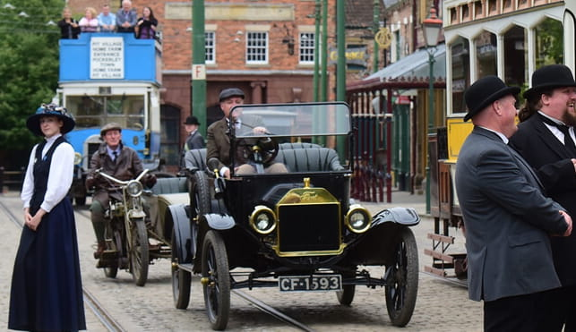 Classic vehicle going through Beamish, the Living museum