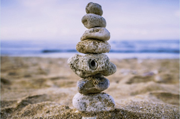 stack of pebbles on the beach