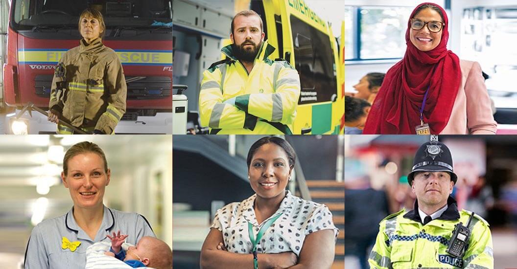 Fireman, paramedic, teacher, nurse, council worker and policeman